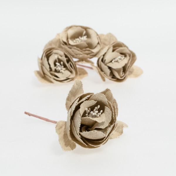 Rosa textil marrón (pack de 4 unidades)